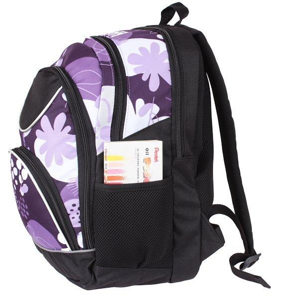 709162cecfb09 Plecak szkolny dla Dziewczynki w kwiaty fioletowe. Zestaw do szkoły ...