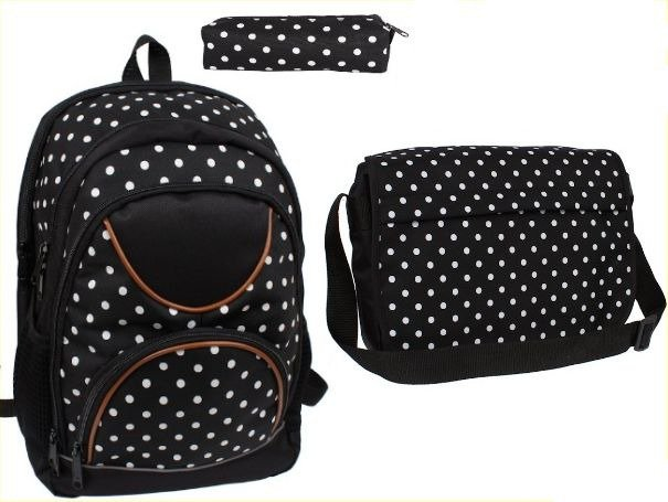 6f168255ed3a1 ... Zestaw szkolny w kropki dla dziewczyny - plecak, torba sportowa damska,  piórnik ...